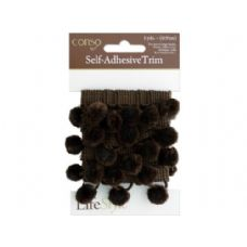 conso 1 yard self adhesive brown trim with brom pom poms
