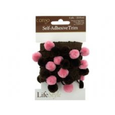 conso self adhesive brown trim with brown/pink pom poms