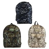 """17"""" Camouflage Backpacks with Mesh Water Bottle Pocket in 3 Assorted Colors"""