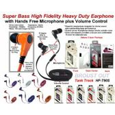 Super Bass Anti-Tangle Flat Wire Stereo Earphone  with Microphone plus Volume Control
