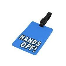 """""""HANDS OFF"""" Luggage Tag-Blue color"""