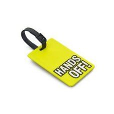 """""""HANDS OFF"""" Luggage Tag-Yellow color"""