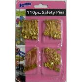 110 Piece Gold Plated Safety Pins