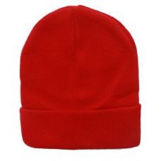 Unisex Solid Red Winter Beanie Hat 12 Inch