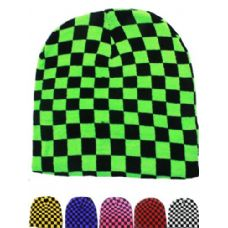 NEON CHECKERED BEANIE HAT