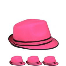 Pink And Black Fedora Hat One Color