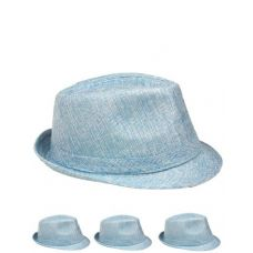 FEDORA HAT SKY BLUE ONE COLOR