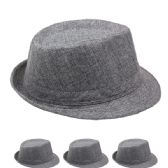 Faded Solid Grey Fedora Hat