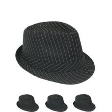 Pinstripe Fabric Fedora Hat In Black