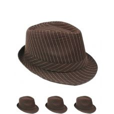 Pinstripe Fabric Fedora Hat Solid Brown