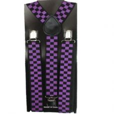 Checkered Suspender in Purple and Black