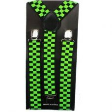 Checkered Black and Green Suspender