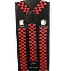 Checkered Black and Red Suspender