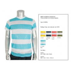 Mens Fashion V-Neck Top Burn Out Single Jersey Size Scale A