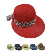 WOMANS STRAW SUMMER HAT WITH PRINTED BOW