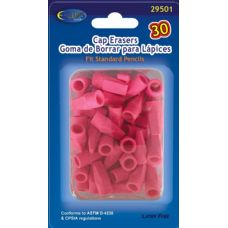Pencil -Top Erasers, 30 Ct., Pink