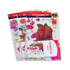 4 PLACEMATS+4 COASTERS BIG FLOWER