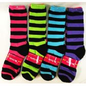 Lady's Girls Long Socks with Black Stripes
