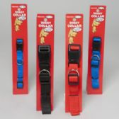 Dog Collar 3 Asst Solid Colors And Sizes W/plastic Snap In Pdq