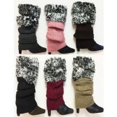 Knitted Faux Leopard Printed Fur Bootcover Leg Warmer