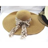Ladies Woven Beach Summer Hat With Animal Print Wrap