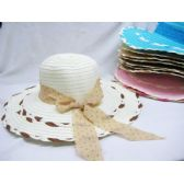 Ladies Woven Summer Hat Assorted Colors With Bow Design