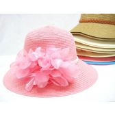 Ladies Summer Hat Assorted Colors Solid With Accent