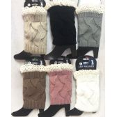Solid Color Knitted Boot Topper with Crochet Top