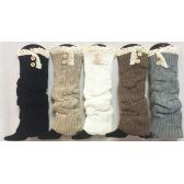 Solid Color Knitted Long Boot Topper Crochet Top Button