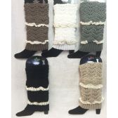 Solid Color Knitted Boot Topper with Double Crochet Top