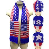 Knitted Beanie Hat Scarve Set with Assorted USA Design