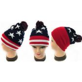 Winter Knitted Beanie Hat American Flag Pattern