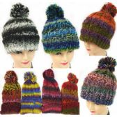 Multicolor Knitted Hat with Pompom