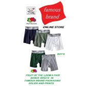 FRUIT LOOM - HANES 3PK BOY'S BOXER BRIEFS IN FAMOUS BRAND PACKAGING