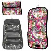 HANGING COSMETIC BAG IN ASSOERTED PRINTS - FOLDS UP TO STORE!