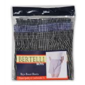 Boys Bertelli 3 pack boxer shorts in assorted sizes and prints.