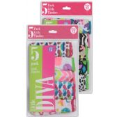 "Girls ""Jus Girls"" 5 pack briefs in assorted prints."
