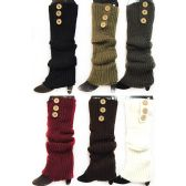 Knitted Long Boot Toppers Leg Warmers 3 buttons