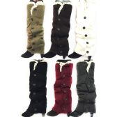 Long Knitted Boottopper Leg Warmers Lace Trim