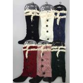 Short Boot Topper Leg Warmer with Lace Trim and Buttons