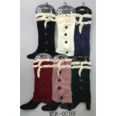 Knitted Boot Topper Double Lace Top with buttons