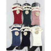 Knitted Boot Topper Lace Top with Lace Flower