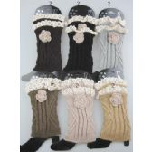 boot topper leg warmer with flower Neutral color ast