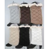 Interlocking Knitted Boot Toppers Leg Warmers with Lace