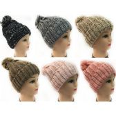 Women Knit Winter Hat Solid Color with White Speckles
