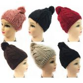 Women Knit Winter Hat Solid Color Pompom Assorted Color