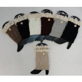 """Knitted Boot Cuffs [1 Button-Antique Lace] Assorted colors. 7"""" long"""