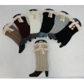 Knitted Boot Cuffs [2 Buttons-Antique Lace]
