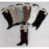 Knitted Long Boot Cuffs [2 Buttons/Antique Lace]