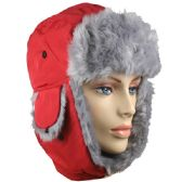 RED WINTER PILOT HAT WITH FAUX FUR LINING AND STRAP